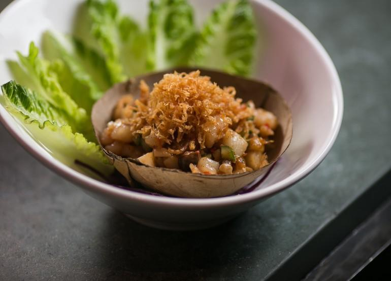 XO seafood and water chestnut lettuce wrap