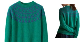 Toast Fair Isle Seamless Wool Jumper, Vintage Green/Nightshade