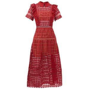 Peter Pan-Collar Heart-Patterned Lace Dress