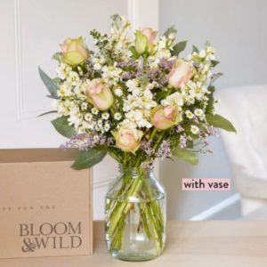 The Elena & Vase Hand Tied Flowers